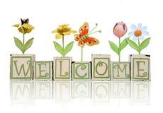 Sinal bem-vindo temático do jardim Imagem de Stock