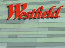 Sinal branco de Londres da cidade de Westfield Fotografia de Stock