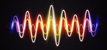 Sinal brilhante da música da forma de onda de néon com alargamentos ilustração do vetor