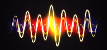 Sinal brilhante da música da forma de onda de néon com alargamentos ilustração stock