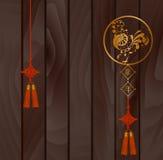 Sinal chinês do projeto gráfico do zodíaco Galo para o projeto chinês do ano novo, contra um fundo escuro Chara do chinês da trad Fotos de Stock