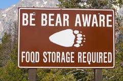 Sinal ciente do urso fotografia de stock royalty free