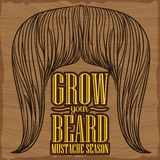 Sinal cinzelado de madeira com um bigode longo, ilustração do vetor Fotografia de Stock