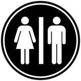 Sinal circular do WC do banheiro Rebecca 36 Isolado no branco fotografia de stock royalty free