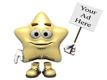 Sinal claro da estrela do ouro Imagem de Stock Royalty Free