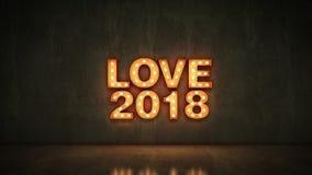 Sinal claro da letra do amor 2018 do famoso, ano novo 2018 rendição 3d ilustração stock