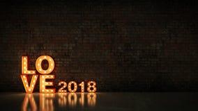 Sinal claro da letra do amor 2018 do famoso, ano novo 2018 rendição 3d ilustração do vetor