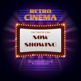 Sinal claro de incandescência retro do cinema 3d de hollywood Fotografia de Stock