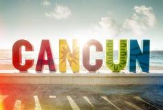 Sinal colorido na praia em Cancun, Maya de Riviera fotos de stock