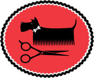 Sinal com cão e tesouras da preparação Fotografia de Stock Royalty Free