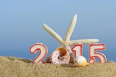 Sinal com conchas do mar, estrela do mar do ano novo 2015 Imagem de Stock Royalty Free