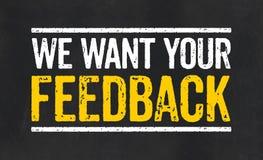 Sinal com o texto nós queremos seu feedback Foto de Stock Royalty Free