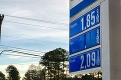 Sinal com preços de gás Foto de Stock Royalty Free