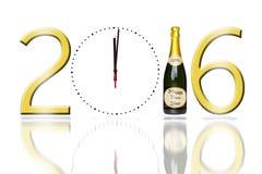 sinal 2016 com uma garrafa da face do relógio e do champanhe Fotografia de Stock Royalty Free