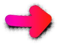 Sinal cor-de-rosa da seta no fundo branco Foto de Stock