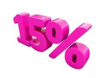 Sinal cor-de-rosa de 15 por cento ilustração do vetor