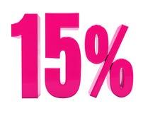 Sinal cor-de-rosa de 15 por cento ilustração stock