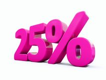 Sinal cor-de-rosa de 25 por cento Ilustração Stock