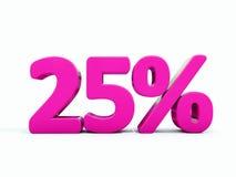 Sinal cor-de-rosa de 25 por cento ilustração royalty free