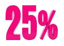 Sinal cor-de-rosa de 25 por cento Ilustração do Vetor