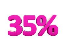 Sinal cor-de-rosa de 35 por cento ilustração royalty free