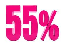Sinal cor-de-rosa de 55 por cento ilustração royalty free