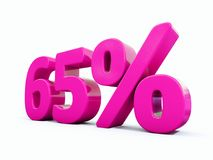 Sinal cor-de-rosa de 65 por cento Fotografia de Stock
