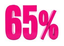 Sinal cor-de-rosa de 65 por cento Foto de Stock