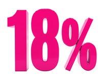 Sinal cor-de-rosa de 18 por cento ilustração stock