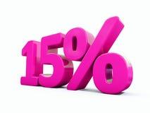 Sinal cor-de-rosa de 15 por cento ilustração royalty free