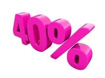 Sinal cor-de-rosa de 40 por cento ilustração stock
