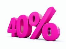 Sinal cor-de-rosa de 40 por cento ilustração do vetor