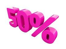Sinal cor-de-rosa de 50 por cento Fotos de Stock