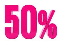 Sinal cor-de-rosa de 50 por cento Fotos de Stock Royalty Free