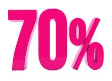 Sinal cor-de-rosa de 70 por cento Fotografia de Stock