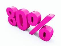 Sinal cor-de-rosa de 80 por cento ilustração do vetor