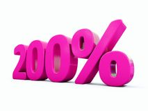 Sinal cor-de-rosa de 200 por cento ilustração do vetor