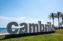 Sinal Costa Daurada da praia de Cambrils Foto de Stock Royalty Free