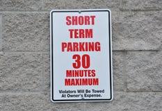 Sinal a curto prazo do estacionamento Imagem de Stock Royalty Free
