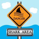 Sinal da área do tubarão ilustração royalty free