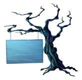 Sinal da árvore de Dia das Bruxas ilustração do vetor
