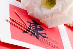 Sinal da acupunctura e da saúde Foto de Stock Royalty Free