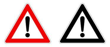 Sinal da advertência/atenção Marca de exclamação no triângulo Versão vermelha/preto e branco imagem de stock royalty free