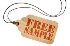 Sinal da amostra grátis no preço isolado imagens de stock royalty free