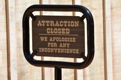 Sinal da atração fechado Imagem de Stock