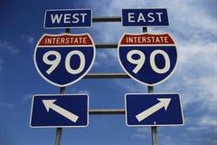 Sinal da autoestrada para a estrada 90, New York Fotografia de Stock Royalty Free