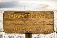 Sinal da bacia de Badwater Imagem de Stock Royalty Free