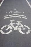 Sinal da bicicleta na maneira da bicicleta da estrada Fotos de Stock