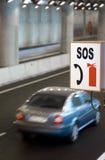 Sinal da borda da estrada SOS Foto de Stock Royalty Free