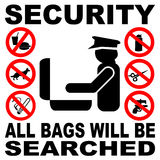 Sinal da busca do saco da segurança ilustração stock